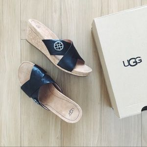 NWT UGG Lyra Black Wedge Sandals
